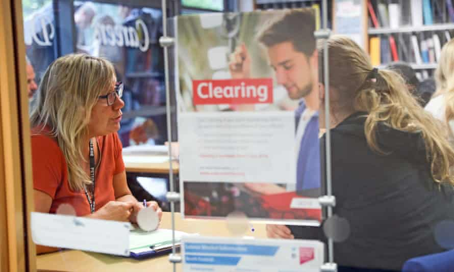 File photo of a student getting advice about clearing