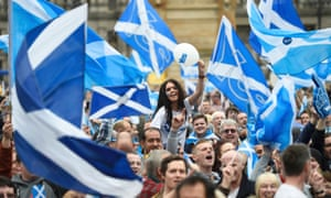 Campaigners at a yes campaign rally in  2014