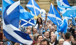 Pro-independence campaigners in Glasgow, September 2014.