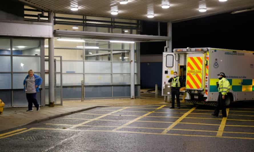 An ambulance outside a hospital in Ayrshire, Scotland