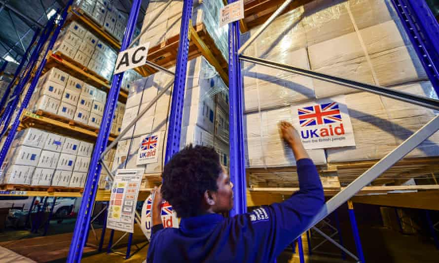 Cargo pallets loaded with aid destined for areas suffering humanitarian crisis. Picture taken in August 2014