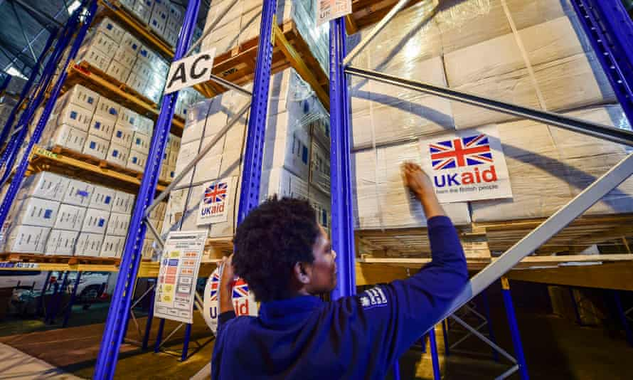 UK aid supplies on pallets