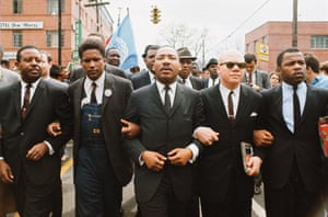 Martin Luther King led a march later that same month from Selma to Montgomery in Alabama. Beside King is John Lewis, Reverend Jesse Douglas, James Forman and Ralph Abernathy.