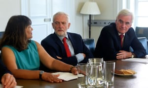 Labour Party Leader Jeremy Corbyn (C) talks with fellow Labour MPs Valerie Vaz and John McDonnell (R) as he prepares for a meeting with other opposition party leaders to discuss ways of averting a no-deal Brexit at the Leader of the Opposition's Office on August 27, 2019 in London, England.