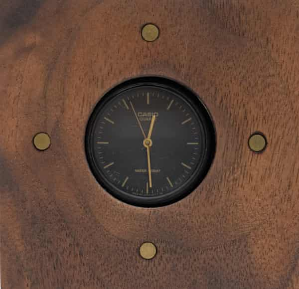 Time piece: a cheap but working watch upscaled in a walnut casing.