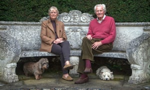 Ann and Michael Heseltine pictured in their garden in 2013 with their dogs.