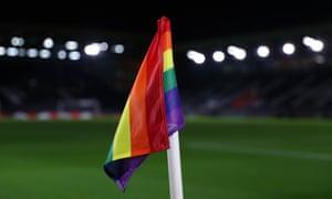 A rainbow corner flag on a Premier League club's pitch