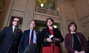 The DUP leader, Arlene Foster, with her deputy, Nigel Dodds to her right, with party members Christopher Stalford and Diane Dodds