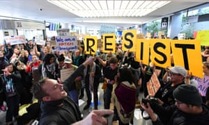 Protesters gather at San Francisco international airport.