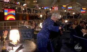 "Lil Rel Howery reacts as Glenn Close dances to E.U.'s ""Da Butt"" during an Oscars music trivia bit."