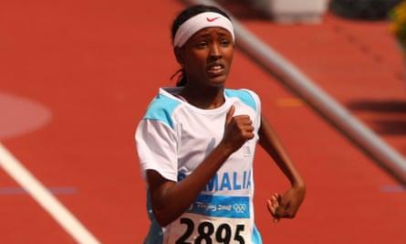 Samia Yusuf Omar competes in the women's 200m heats in Beijing, 2008.