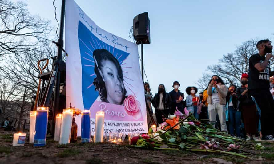 A vigil for Breonna Taylor on 13 March in Washington DC to mark the first anniversary of her death.