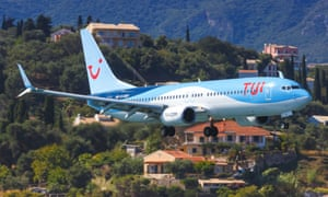 A Tui Boeing 737 at Corfu airport