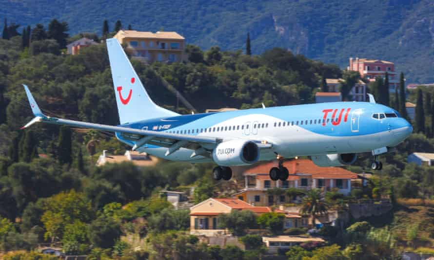 Tui Boeing 737 at Corfu airport in Greece