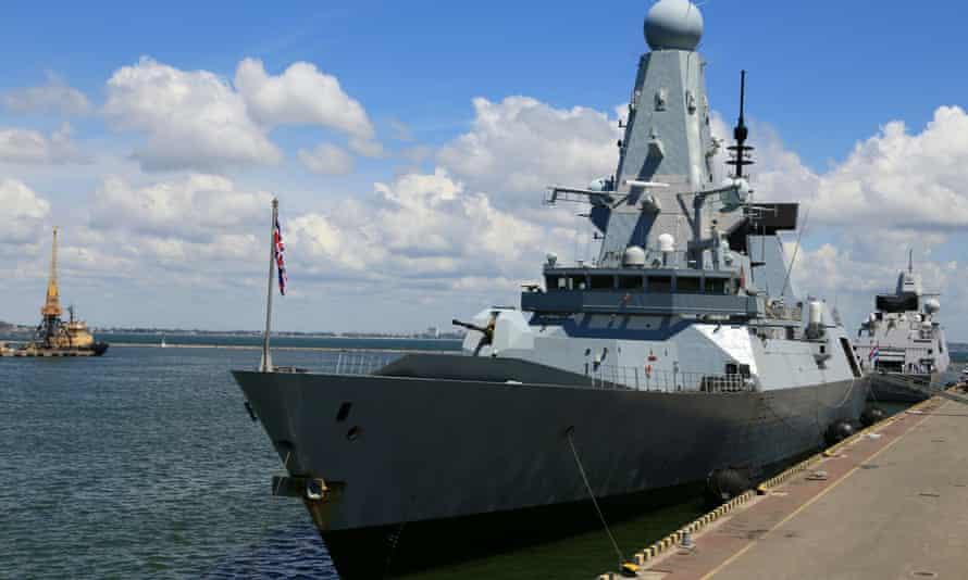 Royal Navy destroyer HMS Defender docked in the Black Sea port of Odessa, Ukraine, on 18 June this year