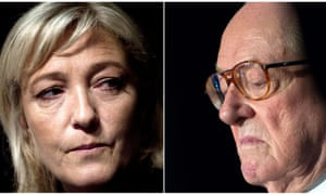 Composite of Front National leader Marine Le Pen (left) and co-founder Jean-Marie Le Pen. He has vowed to attack her by all means possible