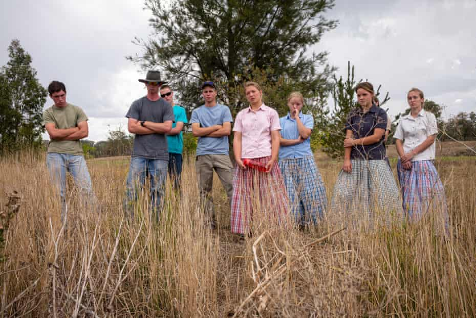 Students from the Danthonia academy attend an outdoor class on regenerative agriculture, NSW, Australia