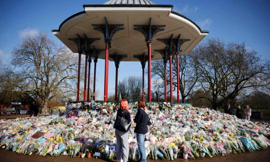 tributes to Sarah Everard at Clapham Common in south London in March