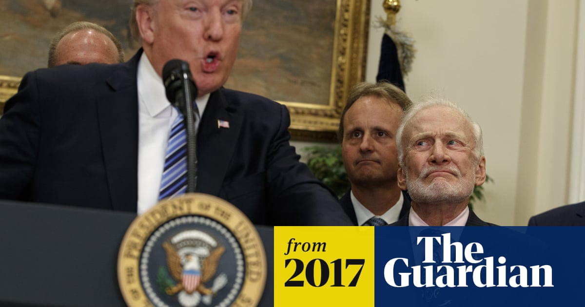 281978fab8eb5 Buzz Aldrin s many faces during Trump s space speech – video