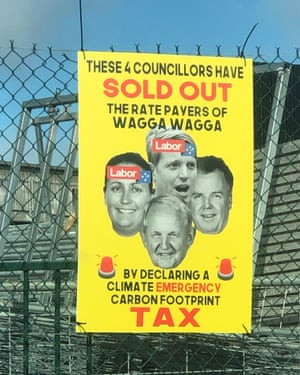 A poster attacks the councillors who supported Wagga Wagga's climate emergency declaration