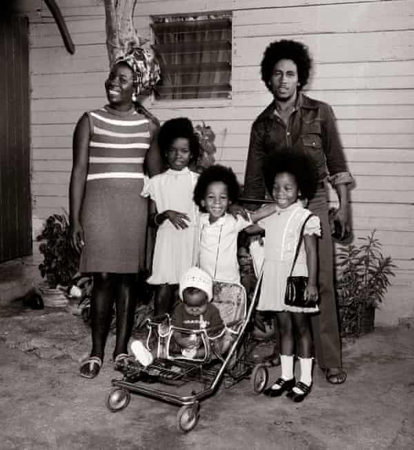Bob Marley and his wife, Rita, with their children, left to right, Sharon, Ziggy, Cedella, and baby Stephen, Jamaica, circa 1972.