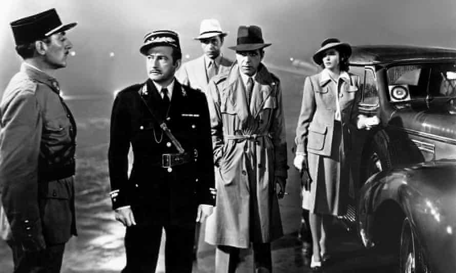 Claude Rains, Paul Henreid, Humphrey Bogart and Ingrid Bergman in Casablanca.