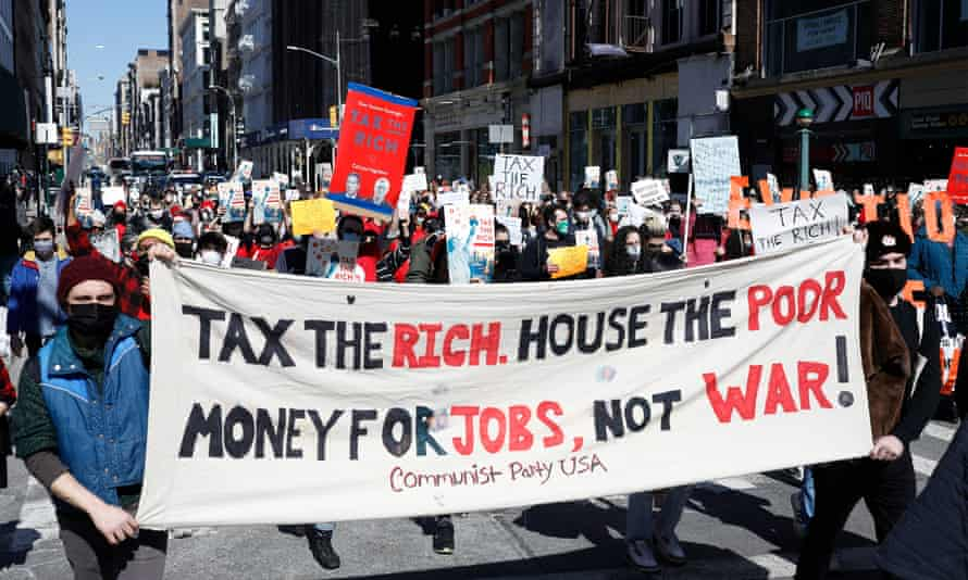 Protesters in New York on a  Tax The Rich march.
