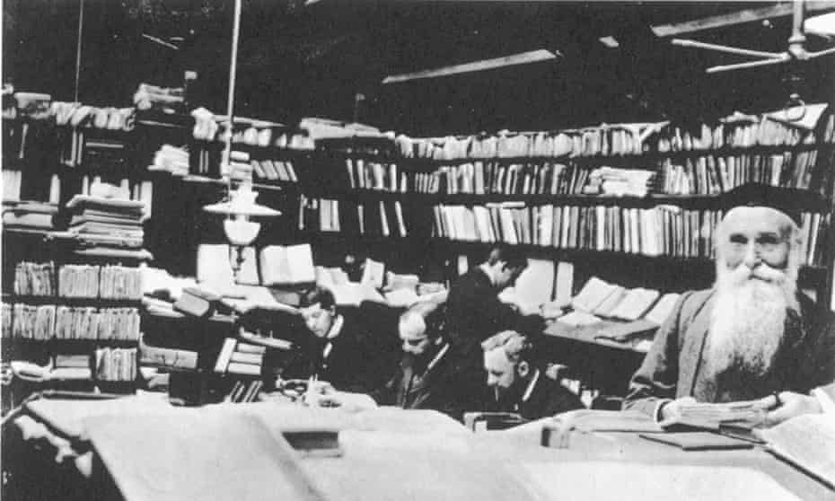 James Murray and his staff compiling the first edition of the New English Dictionary, published in 1928.