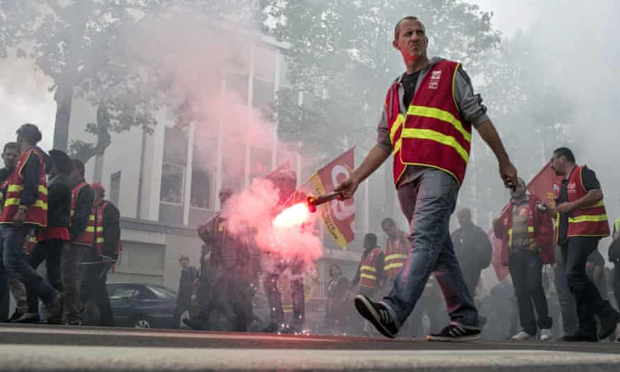 A lot of sound and fury … a demonstration of French rail workers in Lyon earlier this week.