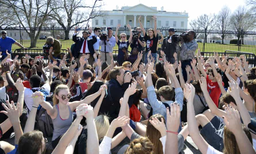 Students protested school gun violence in front of the White House on 21 February.
