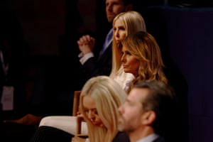 The Trump family before the start of the first 2020 presidential campaign debate between Donald Trump and Joe Biden in Cleveland, 29 September.