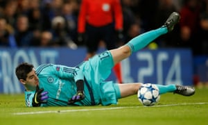 Chelsea's Thibaut Courtois makes the save.