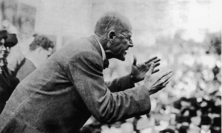 Eugene Debs addresses a crowd of people, circa 1910.