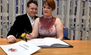 Kieran Hodgson and Adeline Cosson at their civil partnership ceremony in Douglas, Isle of Man, on Friday.