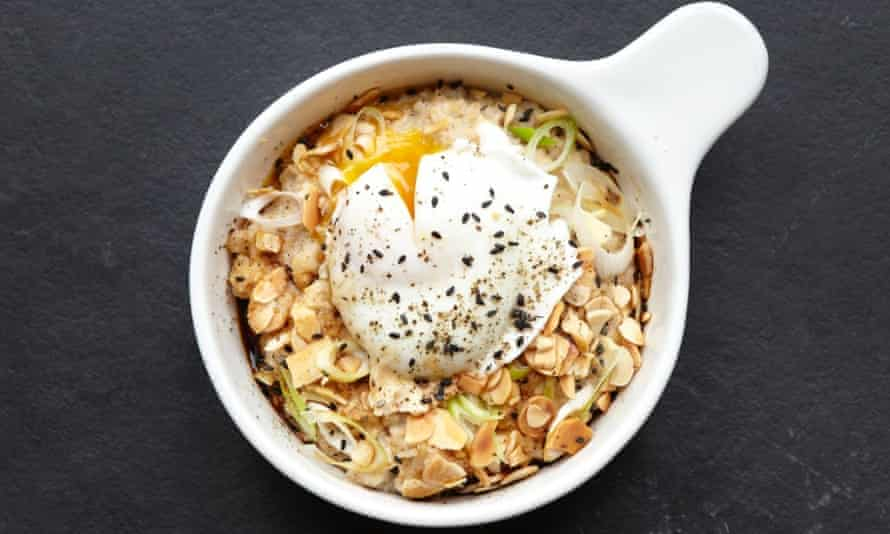 Miso porridge with spring onions and almonds