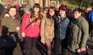 Members of Girls' Brigade Scotland at the Women's March in Edinburgh.