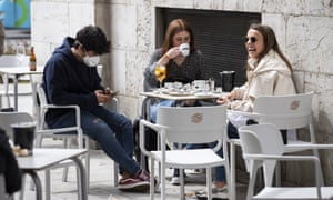 Customers in a cafe in Cantabria, Spain