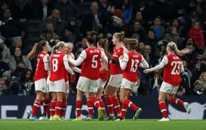 Arsenal celebrate Kim Little's opener.