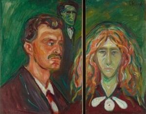 The two halves of Self-Portrait with Tulla Larsen, c1905, by Edvard Munch.