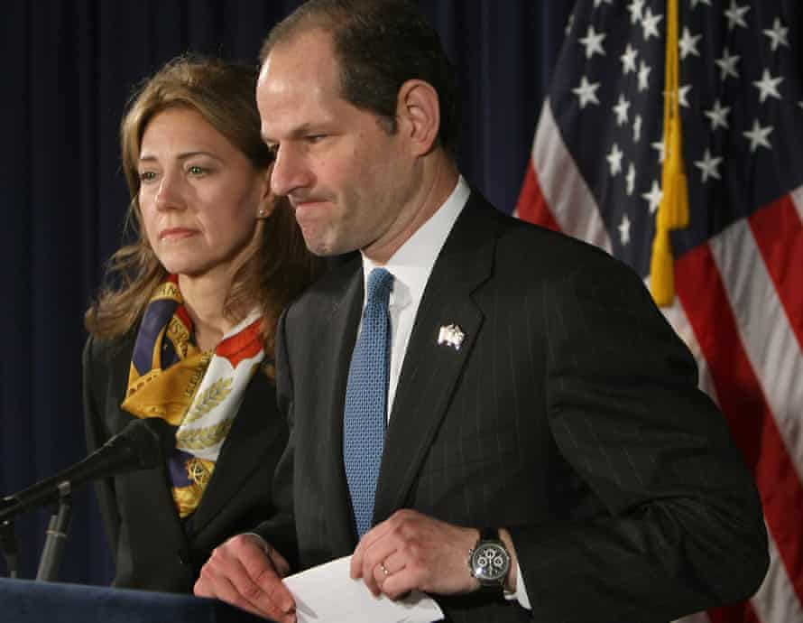 Eliot Spitzer addresses the media with his wife Silda Wall in 2008 to announce his resignation as New York governor after revelations that he had been a client of a prostitution ring.