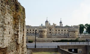 The southern end of the London wall with the Tower of London beyond, London, UK