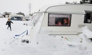 In April 2012 it's snowdrifts for North Yorkshire campers.