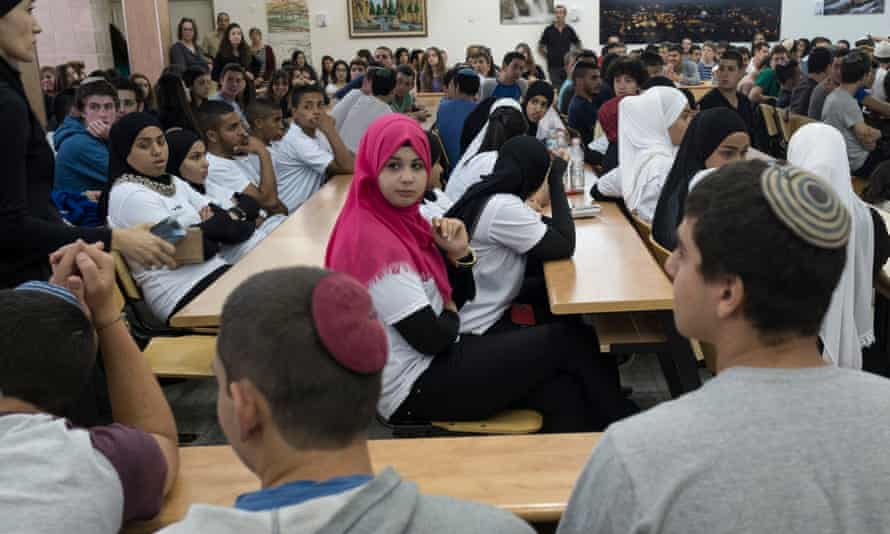 Jewish and Arab pupils from the Ort school in Lod and the Himmelfarb school in Jerusalem