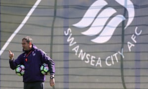 Swansea's manager Paul Clement makes a point during training at Fairwood this week.