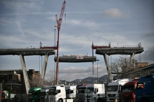 Genoa, Italy: A section is removed from the collapsed Morandi bridge