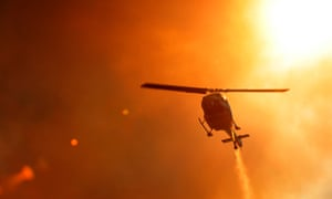 A helicopter near an out of control bushfire