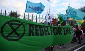 An Extinction Rebellion protest in Madrid on 2 December