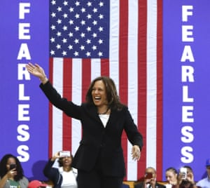 Kamala Harris takes the stage for a campaign rally at Morehouse College in Atlanta.