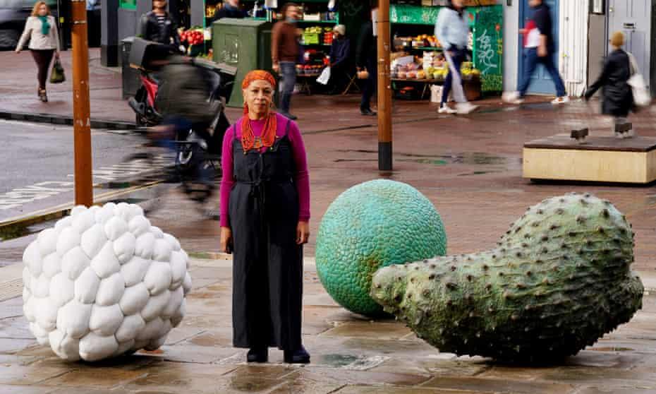 Veronica Ryan with her marble and bronze sculptures in Hackney.