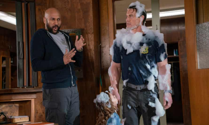 Goofy … Keegan-Michael Key, Finley Rose Slater and John Cena in Playing With Fire.